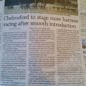 Chelmsford to stage more Harness Racing after smooth introduction