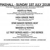 PIKEHALL – Sunday 1st July 2018